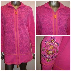 Disney Long Pink Zip Up Sweatshirt - L
